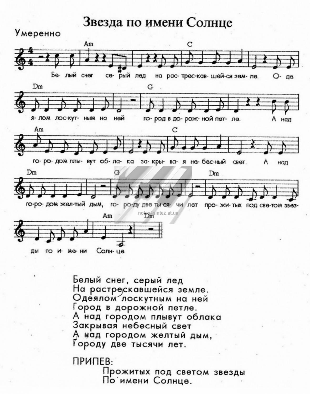 «звезда́ по и́мени со́лнце» — песня группы «кино» из одноимённого альбома года.