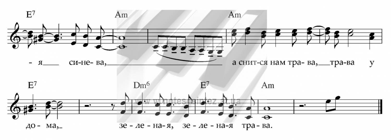 Ноты и аккорды к песне «трава у дома» (земля в иллюминаторе.