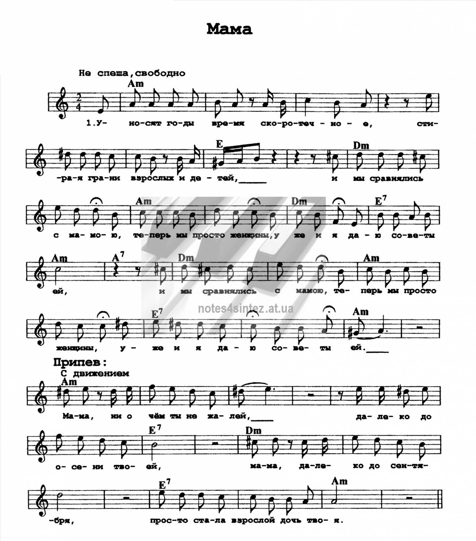 Скачать Ноты для Фортепиано с Днем Рождения И.аллегрова